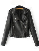 cheap Women's Leather Jackets-Women's Going out Leather Jacket - Solid Colored Shirt Collar