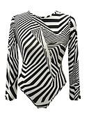 ieftine Neopren-Pentru femei bodysuit De Bază - Dungi Imprimeu Alb negru