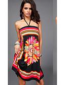 זול שמלות נשים-עד הברך שמלה סווינג רזה ליציאה / חוף בגדי ריקוד נשים