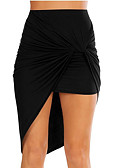 cheap Women's Skirts-women's going out / beach cotton asymmetrical bodycon skirts - solid colored