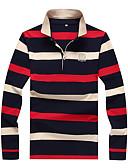 זול חולצות לגברים-קולור בלוק צווארון חולצה מידות גדולות כותנה, Polo - בגדי ריקוד גברים / אנא בחר\י מידה אחת גדולה יותר מהמידה הנורמלית שלך. / שרוול ארוך