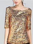 זול חולצה-אחיד בסיסי טישרט - בגדי ריקוד נשים גב חשוף / חרוזים