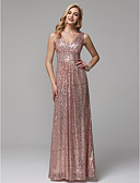 cheap Prom Dresses-Sheath / Column V Neck Floor Length Sequined Sparkle & Shine Prom / Formal Evening Dress with Sequin / Ruched by TS Couture®