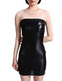 tanie Sukienki-Damskie Impreza Sztuczna skóra Rurki Bodycon Sukienka Bez ramiączek Wysoka talia Mini / Seksowny
