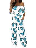 cheap Women's Jumpsuits & Rompers-Women's Jumpsuit - Floral Wide Leg Boat Neck
