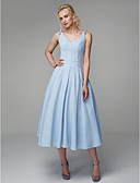 cheap Cocktail Dresses-Princess Spaghetti Strap Tea Length Spandex Prom Dress with Draping by TS Couture®
