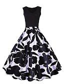hesapli Print Dresses-Kadın's Büyük Bedenler Dışarı Çıkma Vintage Pamuklu A Şekilli Elbise - Çiçekli, Desen Diz üstü