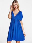 cheap Women's Dresses-Women's Plus Size Loose Loose Dress - Solid Colored Black, Print V Neck / Summer
