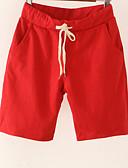 tanie Damskie spodnie-Damskie Bawełna Typu Chino / Szorty Spodnie Solidne kolory Wysoka talia