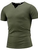 baratos Camisetas & Regatas Masculinas-Homens Camiseta Básico Sólido