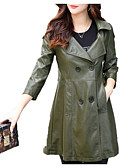 cheap Women's Trench Coat-Women's Street chic Trench Coat - Solid Colored / Contemporary, Oversized