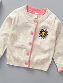 お買い得  女児 セーター&カーディガン-子供 女の子 ベーシック ソリッド 長袖 ポリエステル セーター&カーデガン ブルー