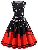 cheap Women's Dresses-Women's Vintage / Elegant Swing Dress - Snowflake Print