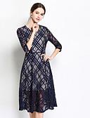 ieftine Tricou-Pentru femei Vintage / Sofisticat Bumbac Zvelt Pantaloni - Mată / Geometric Dantelă Albastru piscină / În V / Ieșire