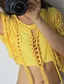 abordables Tops-Mujer Activo / Básico Volante Camiseta Un Color