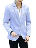 cheap Men's Blazers & Suits-Men's Blazer-Solid Colored Peaked Lapel / Long Sleeve