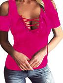tanie T-shirt-T-shirt Damskie Wycięcie / Wiązanie Bawełna Głęboki dekolt w serek Solidne kolory
