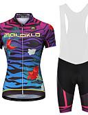 זול שמלות נשים-Malciklo בגדי ריקוד נשים חולצת ג'רסי ומכנס קצר ביב לרכיבה - לבן / שחור אופניים מכנסיים קצרים עם כתפיות / ג'רזי, ייבוש מהיר, עיצוב אנטומי, רצועות מחזירי אור לייקרה / רוכסן YKK