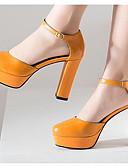 cheap Women's Pants-Women's Nappa Leather Spring / Fall Comfort / Basic Pump Heels Chunky Heel Black / Beige / Yellow / Daily