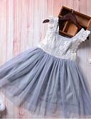 Χαμηλού Κόστους Βρεφικά φορέματα-Μωρό Κοριτσίστικα Βίντατζ Μονόχρωμο Αμάνικο Βαμβάκι / Λινό / Ακρυλικό Φόρεμα Γκρίζο / Νήπιο