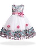 זול שמלות לבנות-שמלה עד הברך ללא שרוולים טלאים פרחוני / טלאים Party / חגים בסיסי / מתוק בנות ילדים / כותנה