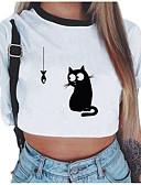 ieftine Tricou-Pentru femei Tricou Mată / Animal Peteci / Imprimeu Pisica
