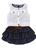 رخيصةأون مجموعات ملابس البيبي-مجموعة ملابس قطن بدون كم لون سادة رياضي Active / أساسي للفتيات طفل / طفل صغير