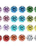 baratos Blusas Femininas-Mulheres Cristal Zircônia cúbica Corda Brincos Curtos - senhoras Básico Jóias Arco-íris Para Diário 12 pares