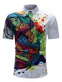 tanie Męskie koszule-Puszysta Koszula Męskie Podstawowy Bawełna Kołnierzyk klasyczny Geometric Shape / Krótki rękaw