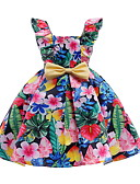 cheap Print Dresses-Kids Girls' Active Daily Floral Bow / Lace up / Print Sleeveless Above Knee Cotton / Polyester Dress Black