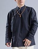 tanie Męskie koszule-Koszula Męskie Wzornictwo chińskie Len Jendolity kolor / Stójka / Długi rękaw