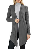 cheap Women's Sweaters-Women's Daily / Going out Basic / Street chic Solid Colored Long Sleeve Slim Long Cardigan, V Neck Fall / Winter Cotton Navy Blue / Gray / Wine L / XL / XXL