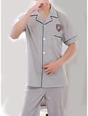 abordables Pijamas y Batas para Hombre-Hombre Cuello Camisero Traje Pijamas Un Color