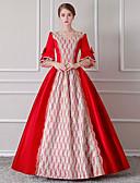 cheap Historical & Vintage Costumes-Rococo Renaissance 18th Century Costume Women's Dress Outfits Party Costume Masquerade Red / White Vintage Cosplay Lace Polyster 3/4 Length Sleeve Puff / Balloon Sleeve Floor Length Long Length Ball