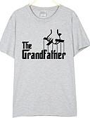 ieftine Maieu & Tricouri Bărbați-Bărbați Rotund Tricou Scrisă / Manșon scurt
