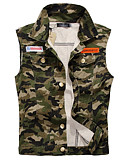 cheap Men's Jackets & Coats-Men's Daily / Going out Plus Size Regular Vest, Camouflage Turndown Sleeveless Cotton / Polyester Army Green XXL / XXXL / 4XL
