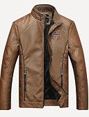 cheap Men's Jackets & Coats-Men's Basic Leather Jacket - Solid Colored