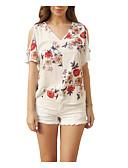 baratos Blusas Femininas-Mulheres Camiseta Básico / Moda de Rua Vazado / Patchwork, Floral
