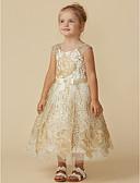 cheap Flower Girl Dresses-Princess Tea Length Flower Girl Dress - Lace Sleeveless Jewel Neck with Belt by LAN TING BRIDE®
