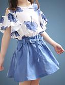 povoljno Kompletići za djevojčice-Djeca Djevojčice Osnovni Jednobojni Cvjetni print Kratkih rukava Komplet odjeće Plava
