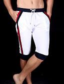 ieftine Maieu & Tricouri Bărbați-Bărbați Bumbac Pantaloni Sport / Pantaloni Scurți Pantaloni - Bloc Culoare Alb