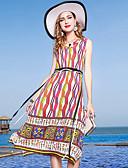 tanie Print Dresses-Damskie Wyjściowe Podstawowy / Elegancja Jedwab Pochwa Sukienka - Wielokolorowa / Tęczowy W serek Midi / Lato