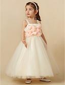 זול שמלות שושבינה-מעטפת \ עמוד באורך  הברך שמלה לנערת הפרחים - טול ללא שרוולים רצועות עם פרח על ידי LAN TING BRIDE®