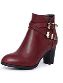 cheap Women's Skirts-Women's Shoes PU(Polyurethane) Fall & Winter Fashion Boots Boots Chunky Heel Round Toe Booties / Ankle Boots Buckle Black / Wine / Dark Brown