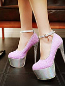 preiswerte Damen Nachtwäsche-Damen Schuhe Leinwand Frühling Komfort High Heels Stöckelabsatz Purpur / Rot / Blau