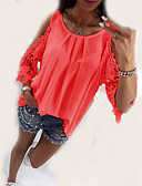 ieftine Bluză-cămașă pentru femei - gât rotund solid colorat