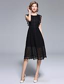 baratos Vestidos de Mulher-Mulheres Vintage / Sofisticado Evasê / Vestidinho Preto Vestido - Renda, Sólido Altura dos Joelhos