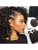olcso Divatos fehérnemű-3 csomag Maláj haj Kinky Curly Emberi haj Ajándékok / Sisak / Késleltető 8-28 hüvelyk Fekete Természetes szín Emberi haj sző Géppel készített Puha / Legjobb minőség / Újonnan érkező Human Hair