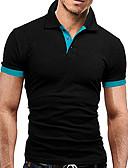 tanie Męskie koszulki polo-Puszysta Polo Męskie Biznes / Podstawowy Bawełna Kołnierzyk koszuli Szczupła - Kolorowy blok Czarno-szary / Krótki rękaw