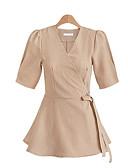 baratos Blusas Femininas-t-shirt de algodão / linho de senhora - gola redonda de cor sólida